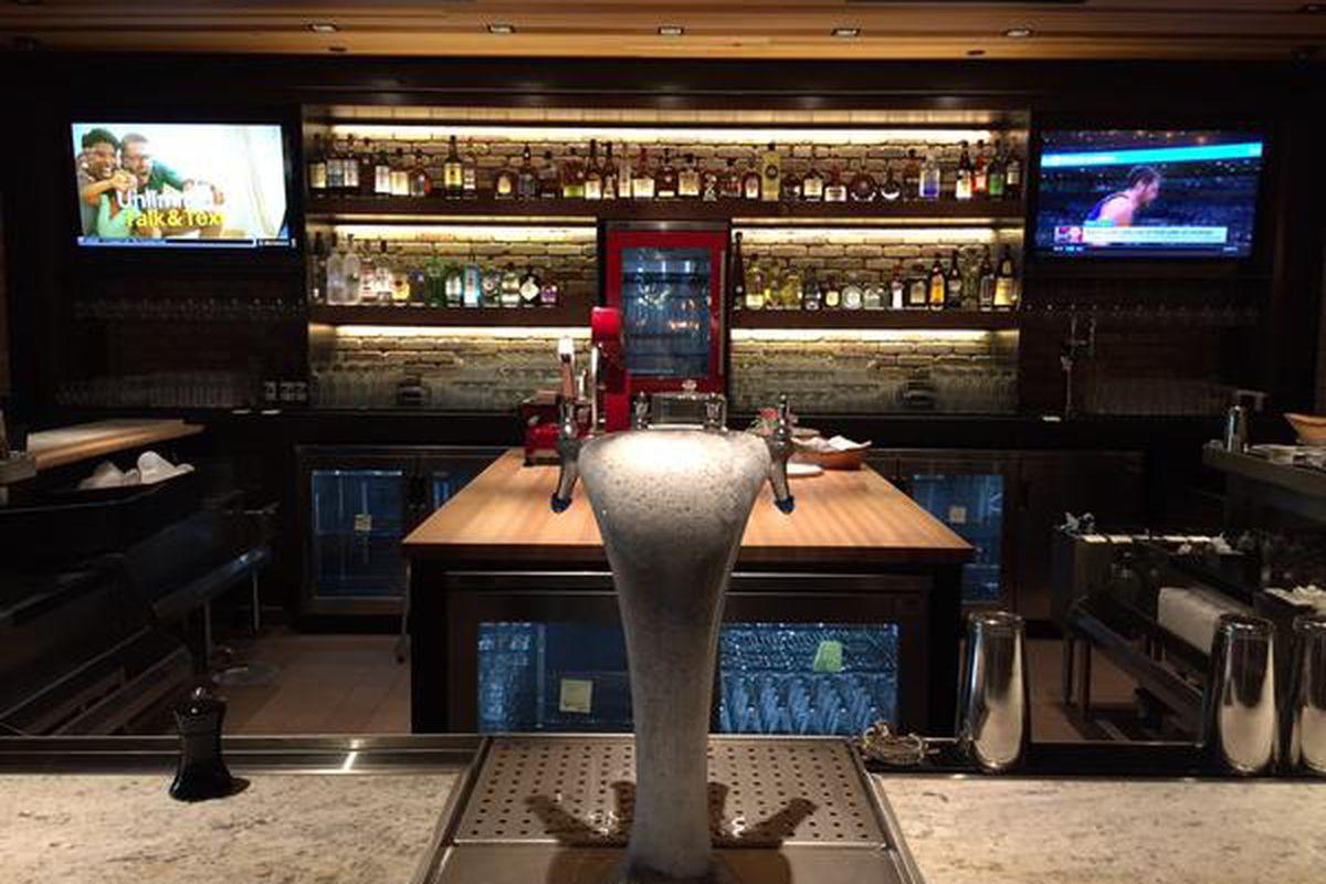 The bar inside dimly lit Paul Martin's.