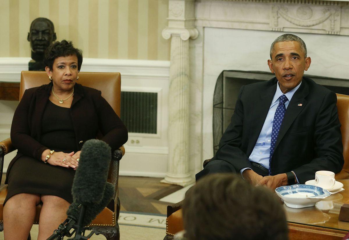 President Barack Obama and US Attorney General Loretta Lynch.