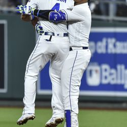 Salvador Perez celebrates his walk-off RBI single against the Indians in September.