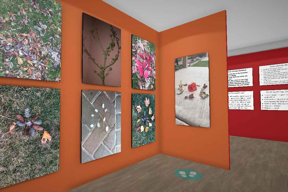 A virtual instillation view. Representative SPACE student artwork from the exhibit, Self-Care is Self-Love.