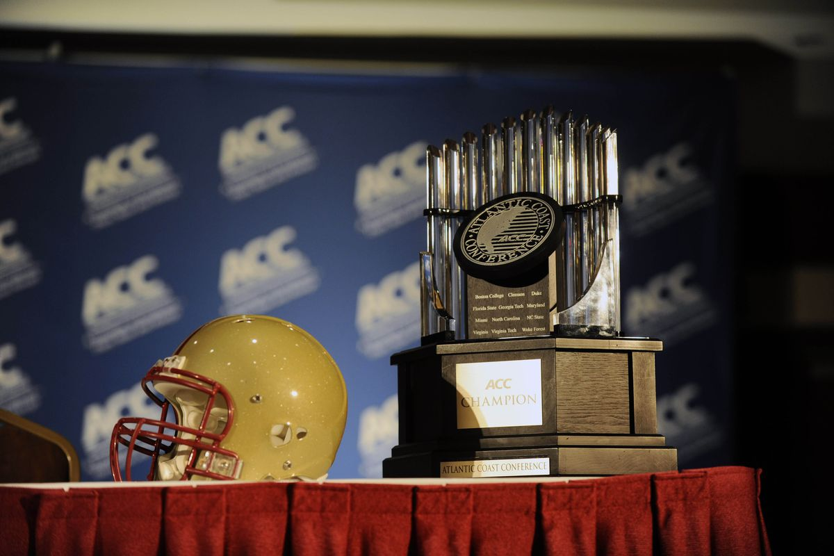 July 23, 2012; Greensboro, NC, USA; The helmet of the Boston College Eagles and the ACC Championship trophy during the ACC media day at the Grandover Resort in Greensboro NC. Mandatory Credit: Sam Sharpe-US PRESSWIRE