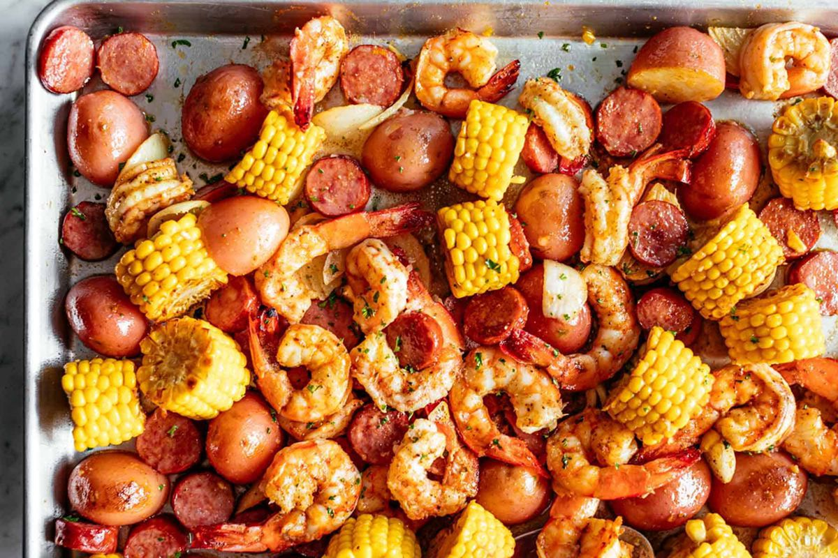 Shrimp, corn, sausage and potato prepared Creole and Cajun style at Crab Island.