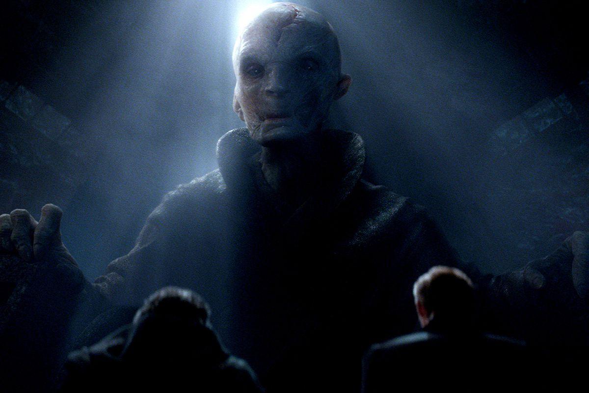 Supreme Leader Snoke— a pale, bald, decrepit man in black robes