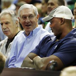 Karl Malone, right, Jerry Sloan and Phil Johnson talk as the Utah Jazz scrimmage in Salt Lake City, Saturday, Oct. 5, 2013.