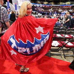 Mary Susan, Minneapolis, shows her support for Donald Trump during the final night of the National Republican Convention in Cleveland on Thursday, July 21, 2016.