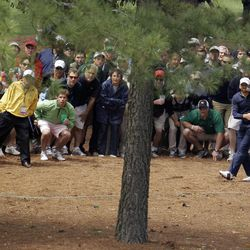 Sergio Garcia watches his shot out of the rough off the ninth fairway during the second round the Masters golf tournament Friday, April 6, 2012, in Augusta, Ga.