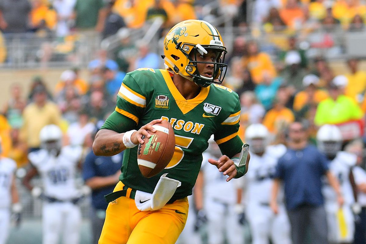 Quarterback Trey Lance #5 of the North Dakota State Bison looks to pass against the Butler Bulldogs during their game at Target Field on August 31, 2019 in Minneapolis, Minnesota.