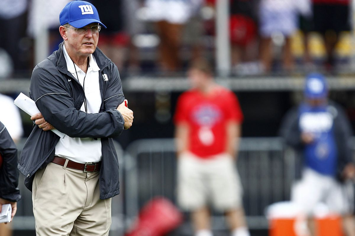 Jul 28, 2012; Albany, NY, USA; New York Giants head coach Tom Coughlin watches during training camp at University Field at SUNY Albany. Mark L. Baer-US PRESSWIRE
