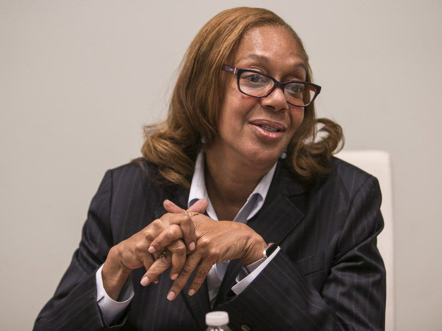 Ald. Leslie A. Hairston meets with the Sun-Times Editorial Board in December. File Photo.   Rich Hein/Sun-Times