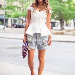"""Aimee of <a href=""""http://www.songofstyle.com""""target=""""_blank"""">Song of Style</a> is wearing a Cameo top, <a href=""""http://www.revolveclothing.com/res-denim-kitty-short-in-teen-spirit-vintage/dp/RESD-WN3/?AID=10568535&PID=4441350&utm_medium=affiliate&utm_so"""