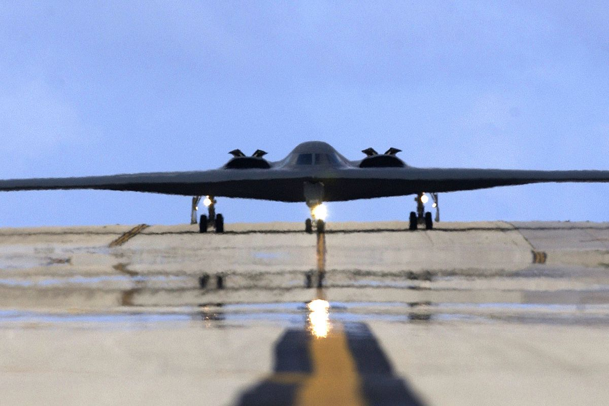 Stealth Bomber Taxis On Runway