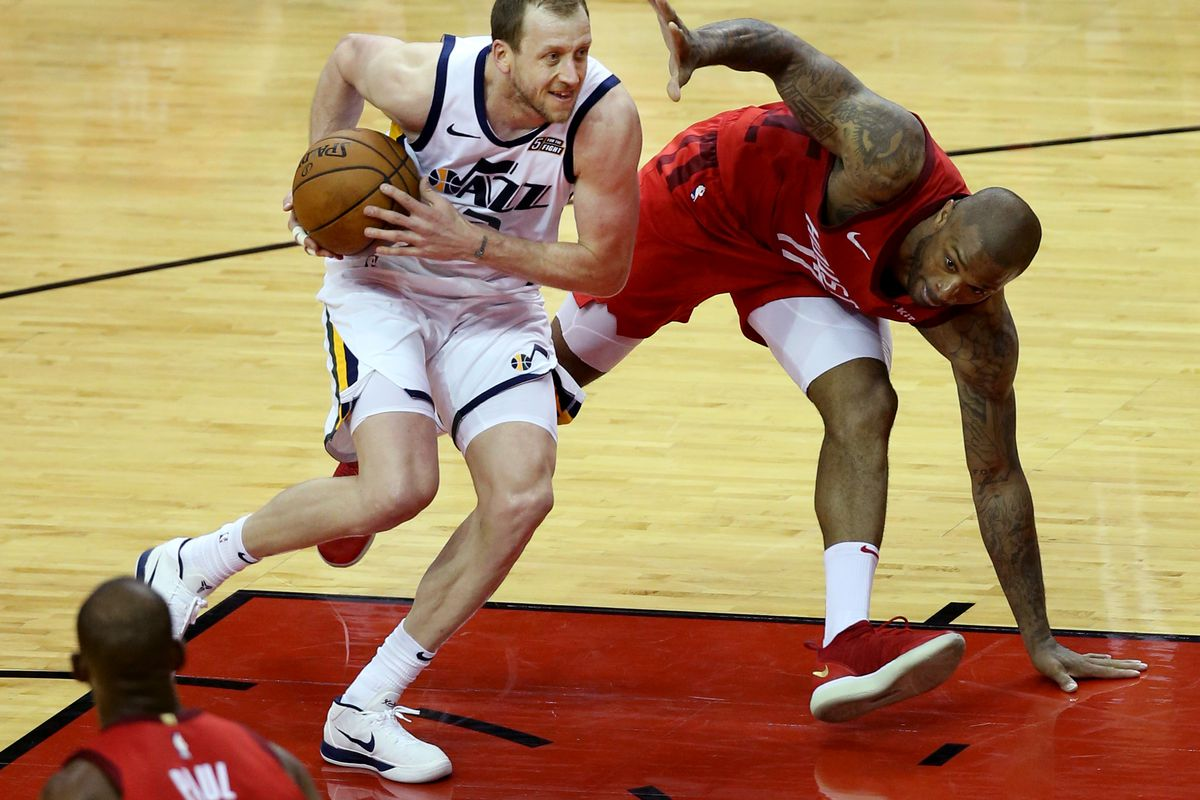 Utah Jazz forward Joe Ingles (2) drives past Houston Rockets forward PJ Tucker (17) during Game 5 of a first-round NBA basketball playoff series in Houston on Wednesday, April 24, 2019.
