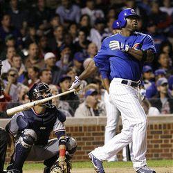 Chicago Cubs' Milton Bradley watches his two-run home run.