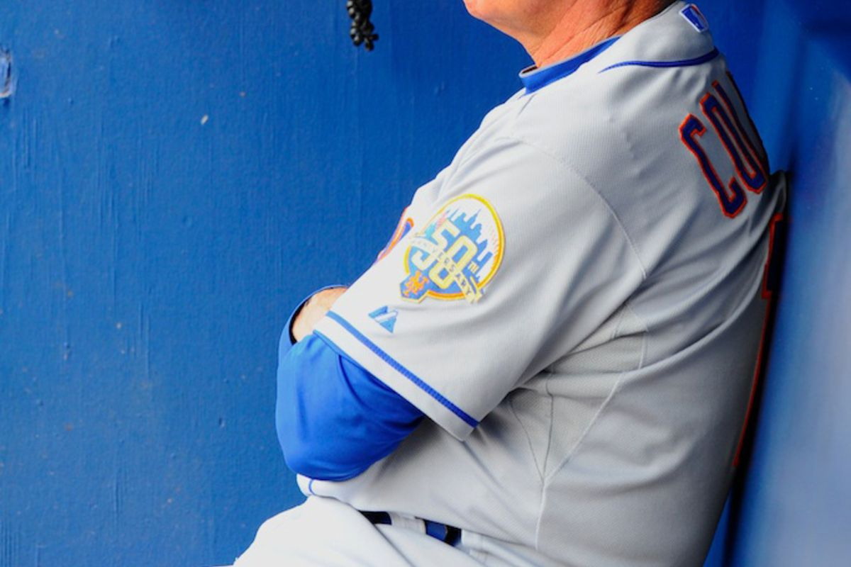 July 15, 2012; Atlanta, GA, USA; New York Mets manager Terry Collins (10) looks at the field prior to the game against the Atlanta Braves at Turner Field. Mandatory Credit: Dale Zanine-US PRESSWIRE