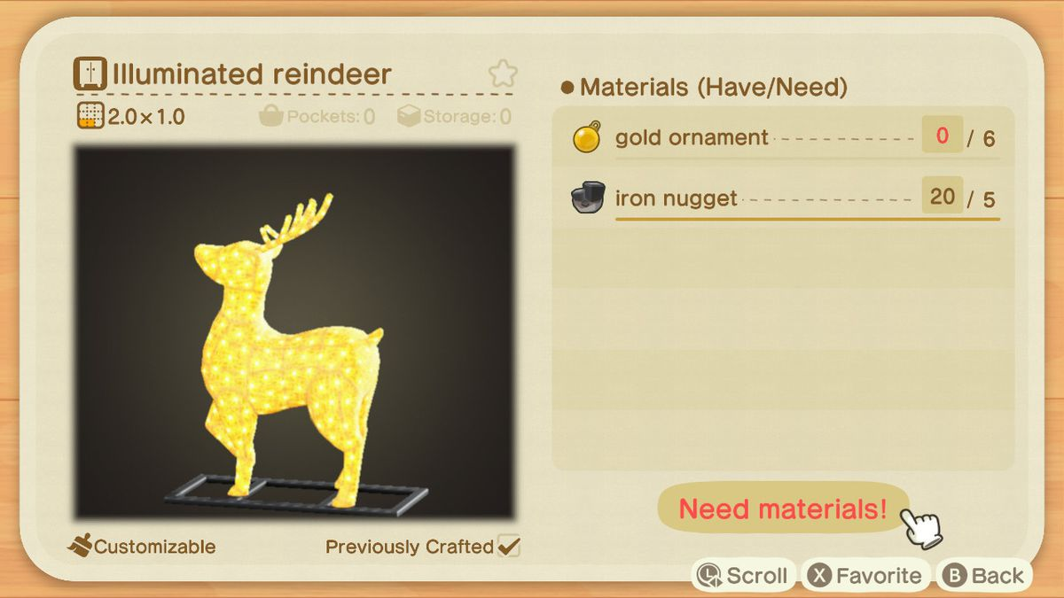 An Animal Crossing recipe for an Illuminated Reindeer