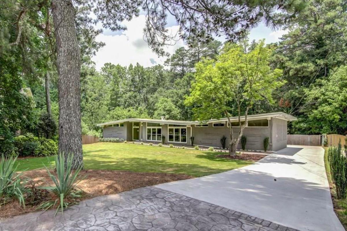 A midcentury modern home for sale in Buckhead, Atlanta.
