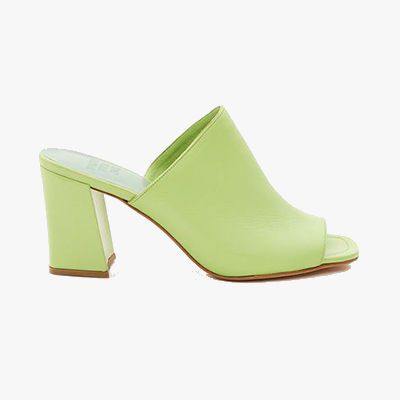 Lime green heeled mules