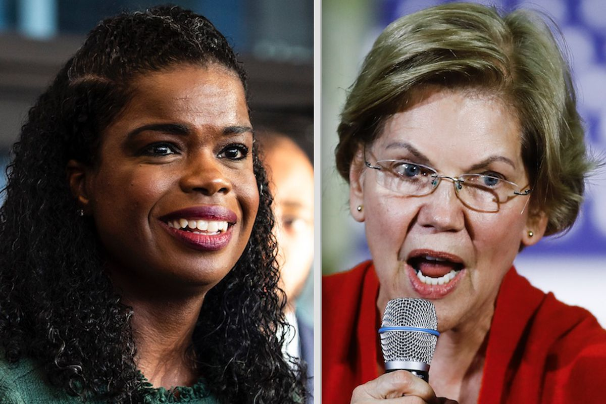 Cook County State's Attorney Kim Foxx, left; Democratic presidential candidate Elizabeth Warren, right.
