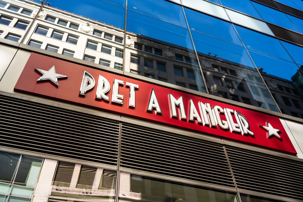 A photo of a Pret a Manger shop sign in New York City