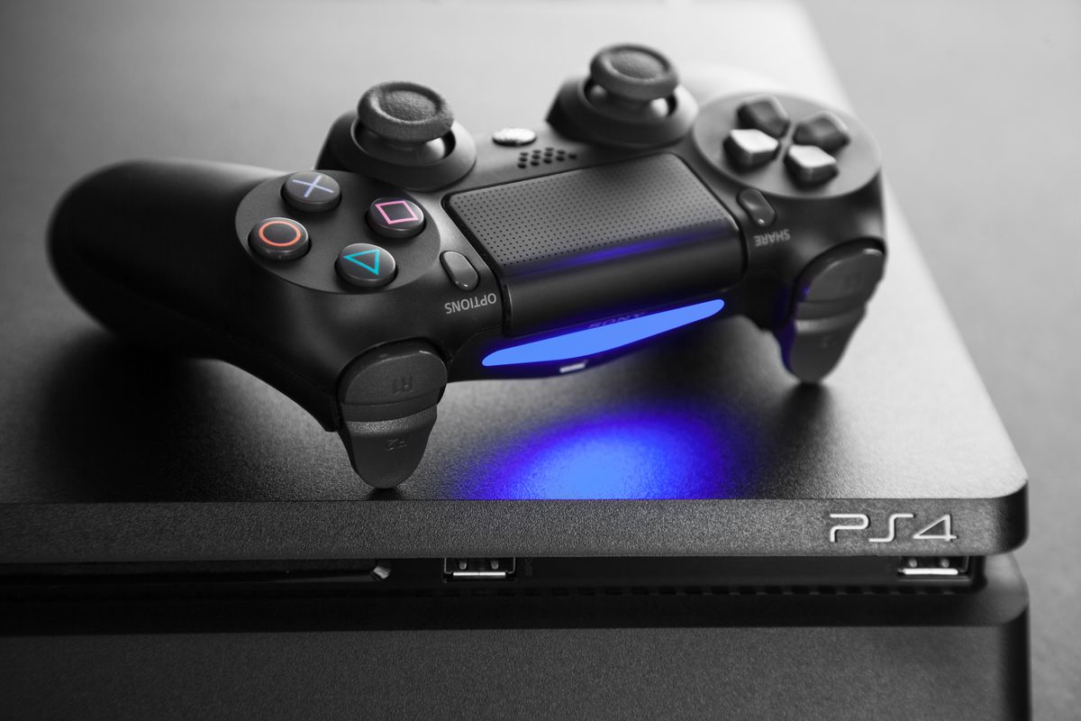 A photo of the Playstation 4 gaming console.