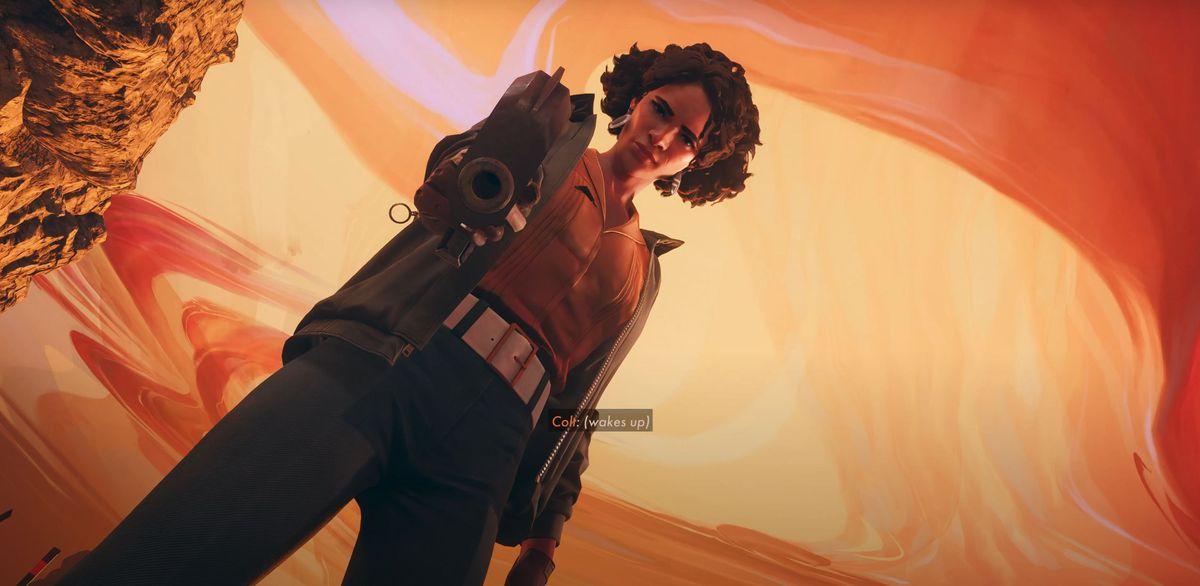 Julianna aims a gun in Deathloop