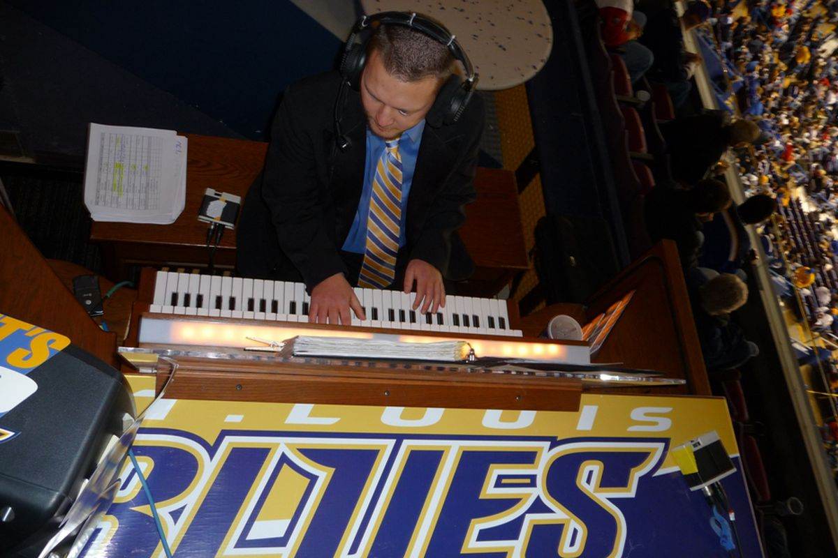 Jeremy Boyer plays the organ at his perch in the Top Shelf area of Scottrade Center.
