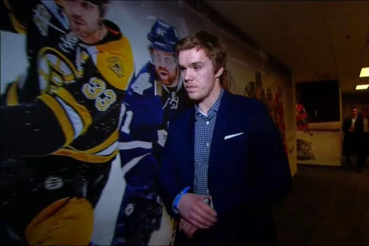 Connor McDavid did not seem super happy upon learning the news of the lottery winner.