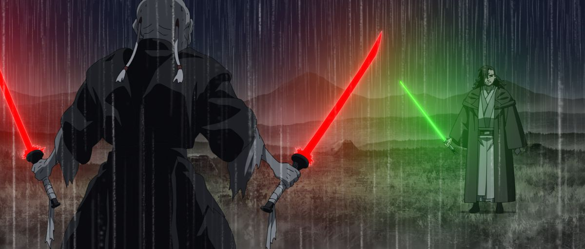 """Tajin and The Elder face off in a scene from """"STAR WARS: VISIONS"""" short, """"THE ELDER"""","""