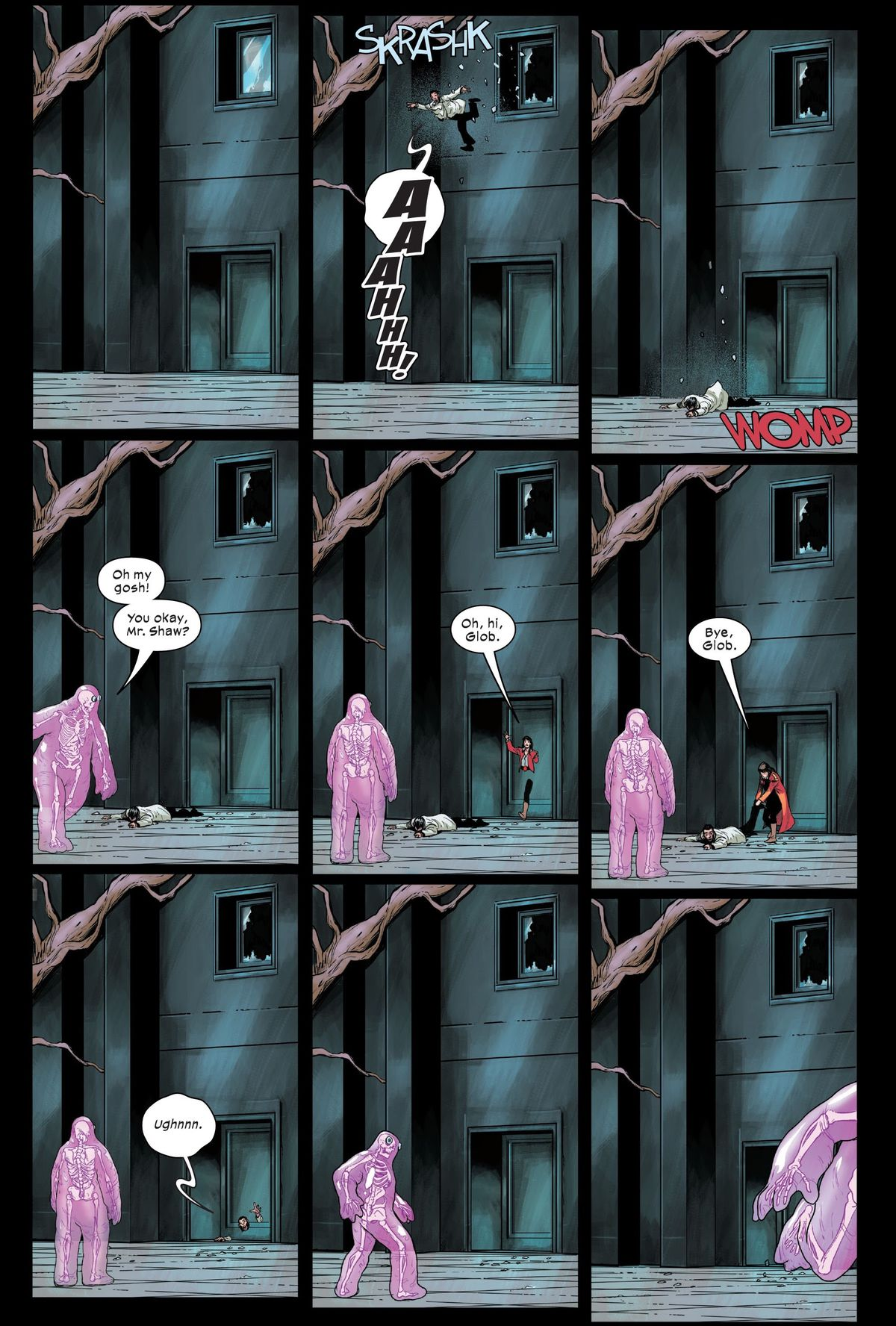 """Screaming, Sebastian Shaw leaps as he leaps out of a second story window and lands with a WOMP. """"Oh my gosh! You okay, Mr. Shaw?"""" exclaims Glob Herman. Kitty Pryde phases through the front door of the building, """"Oh, hi, Glob,"""" grabs Shaw's leg, and drags him, groaning, back inside, """"Bye, Glob."""" Glob flees, in Marauders #16, Marvel Comics (2020)."""