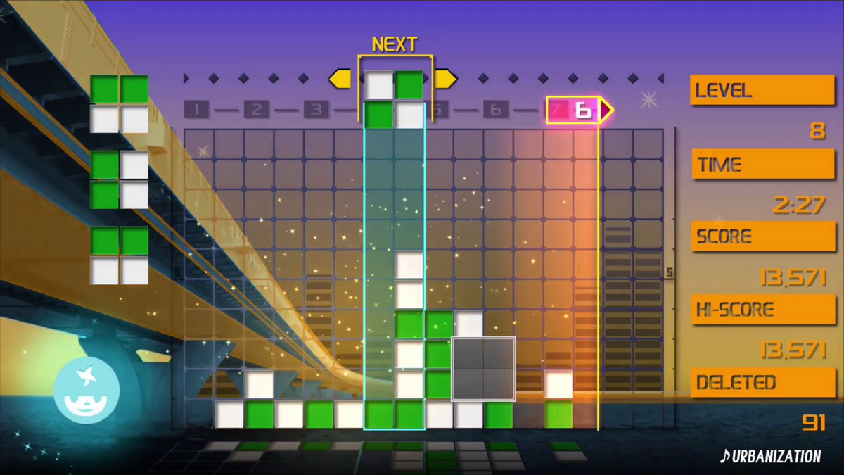 Lumines Remastered - screenshot under & # 39; Urbanization & # 39; song