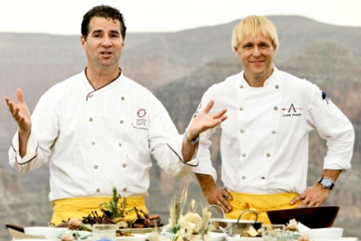 """[Kerry Heffernan (left) and Clark Fraiser explain their dish. Photo: <a href=""""http://www.bravotv.com"""">BravoTV</a>"""