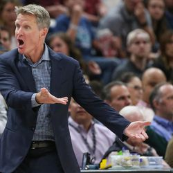 Golden State Warriors head coach Steve Kerr disputes a call with a referee during the game against the Utah Jazz at Vivint Arena in Salt Lake City on Tuesday, April 10, 2018.