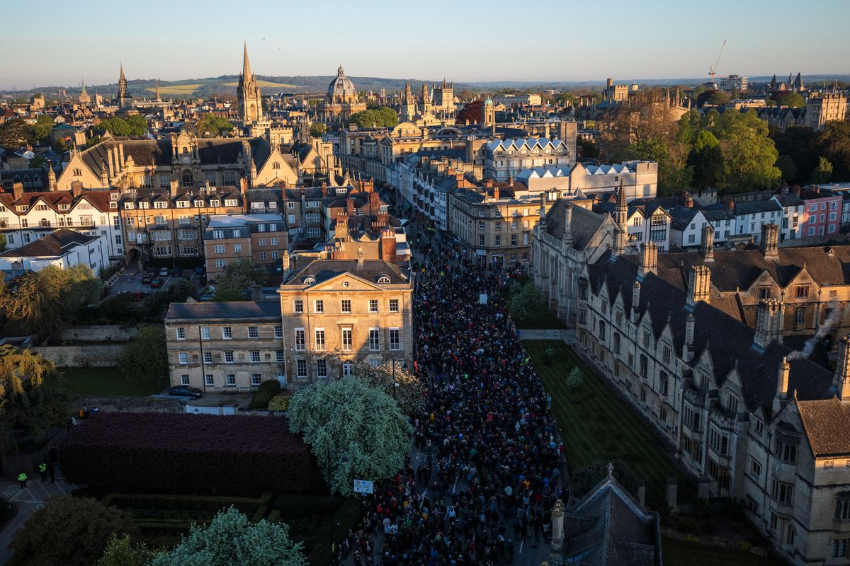 The Choir Of Magdalens College Sings For Oxford On May Day Morning