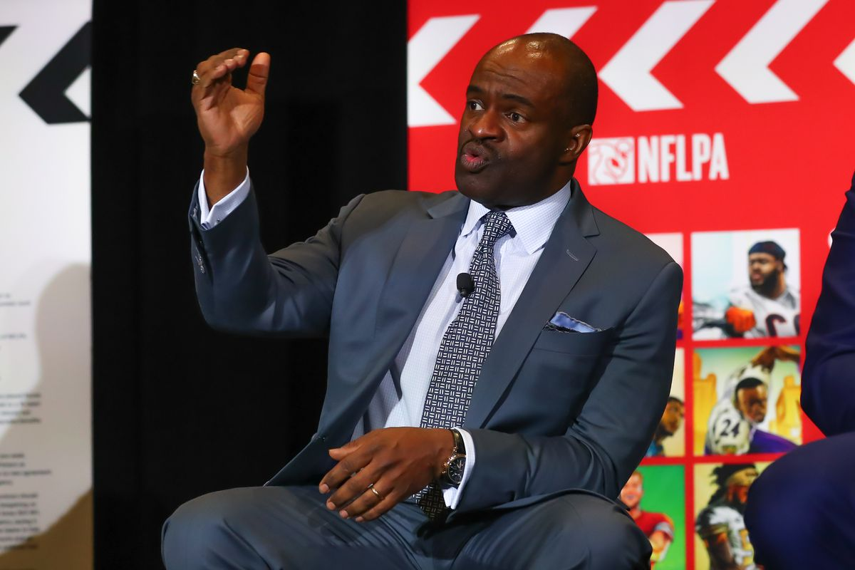 DeMaurice Smith the Executive Director of the National Football League Players Association speaks during the NFLPA press conference on January 30, 2020 at the Miami Beach Convention Center in Miami Beack, FL.