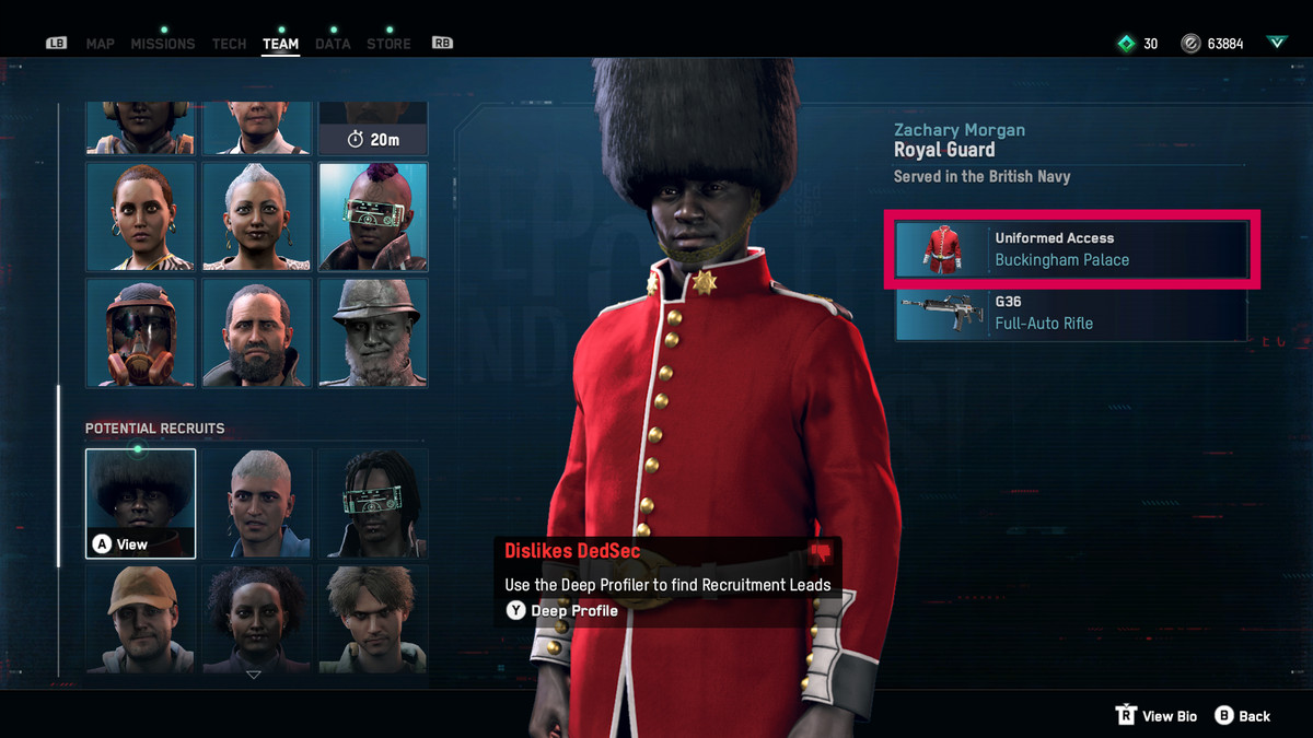 A Royal Guard with Uniformed Access to Buckingham Palace in Watch Dogs: Legion