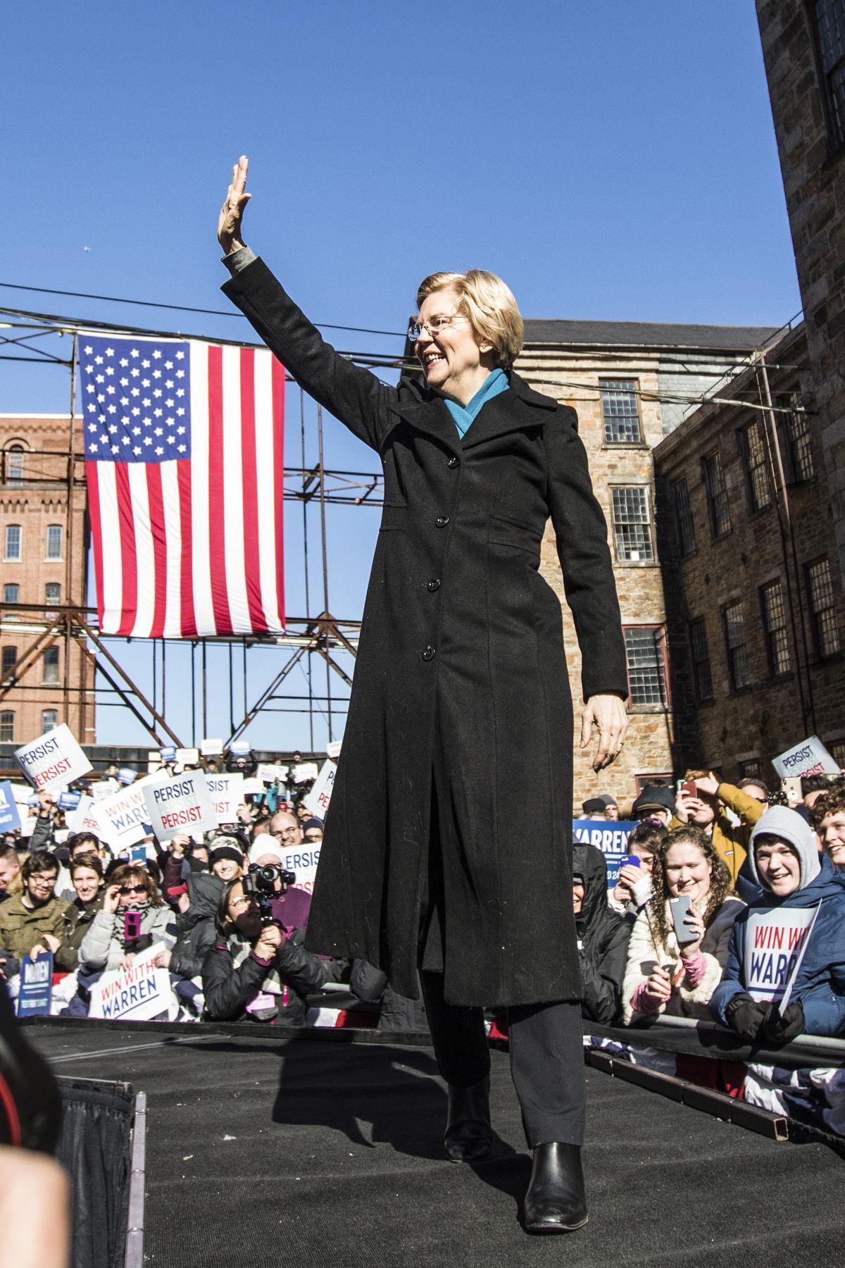 Sen. Elizabeth Warren (D-MA), announces her official bid for President on February9, 2019 in Lawrence, Massachusetts.