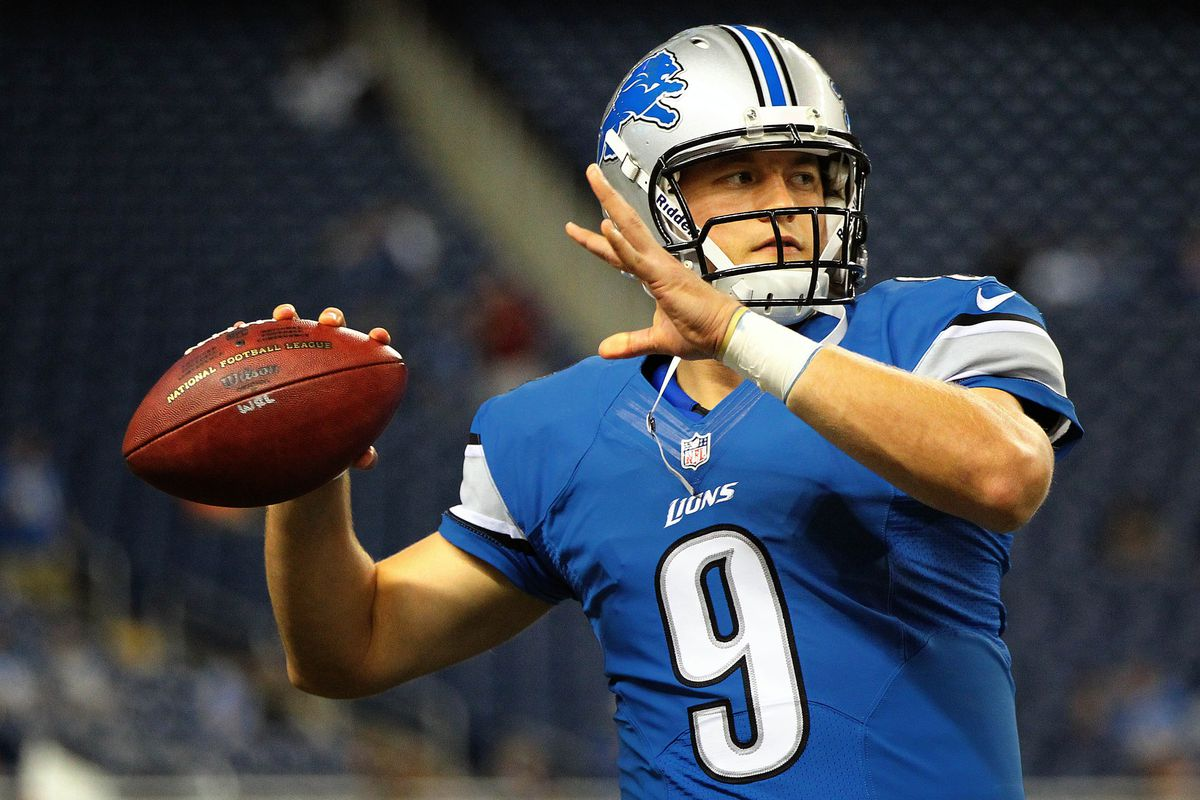 August 10, 2012; Detroit, MI, USA; Detroit Lions quarterback Matthew Stafford (9) warms up before game against the Cleveland Browns at Ford Field.    Mandatory Credit: Mike Carter-US PRESSWIRE