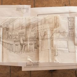 Artist and Jay Villani's business partner Pat Corrigan's sketch for the bar and take out area.