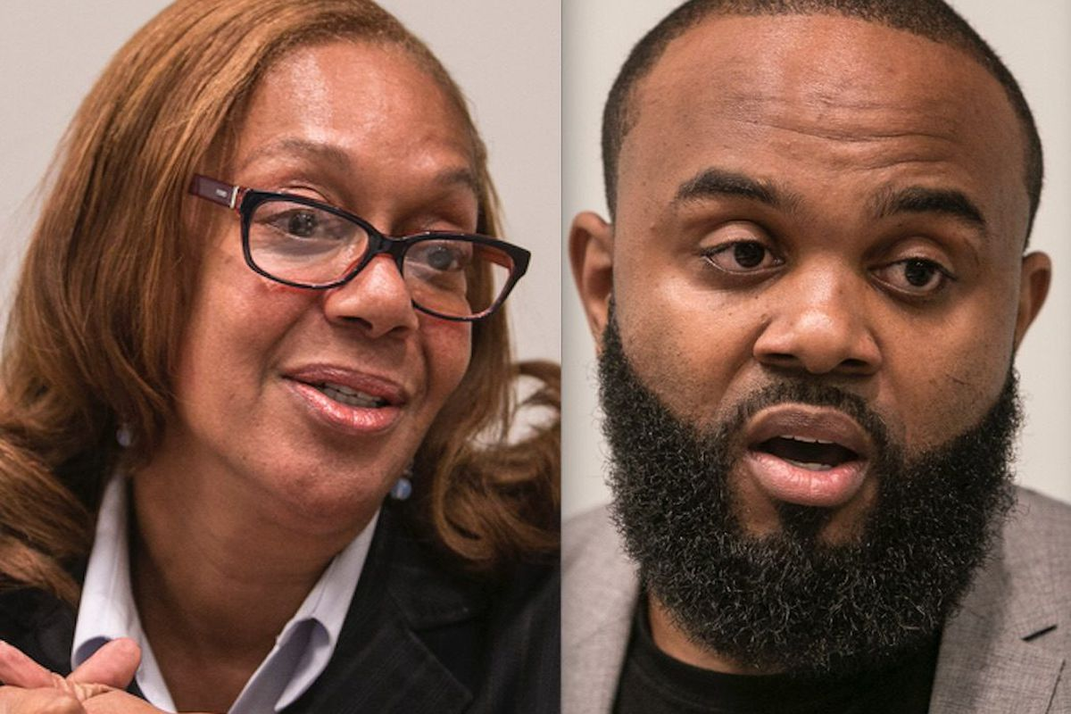 Ald. Leslie Hairston (5th),left, and challenger William Calloway. File Photos. | Rich Hein/Sun-Times