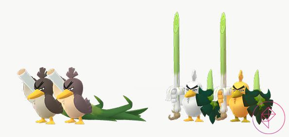 Shiny Galarian Farfetch'd and Sirfetch'd with its normal versions. Shiny Galarian Farfetch'd is a lighter brown and Shiny Sirfetch'd is gold instead of white.
