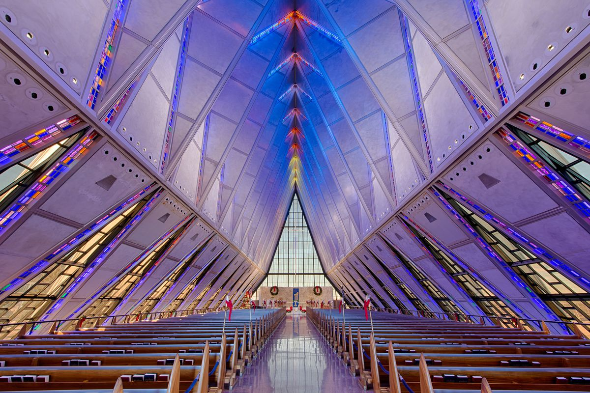The United States Air Force Academy Cadet Protestant Chapel In Colorado Springs Shutterstock