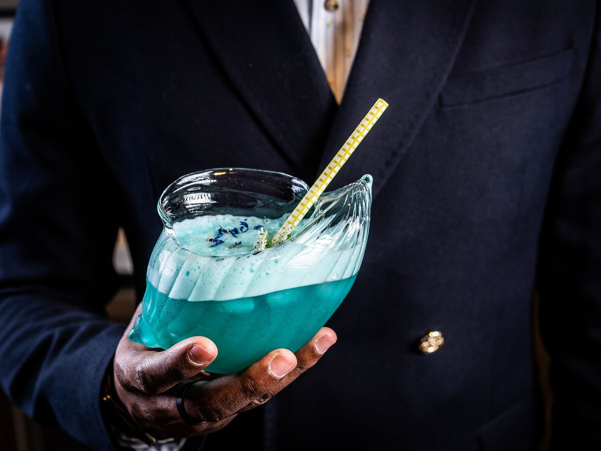 A two-person Mar Caribe cocktail from Serenata