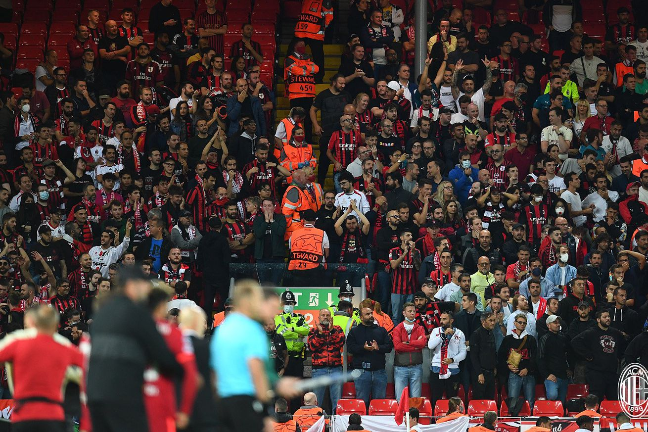 About 500 AC Milan Fans Represent The Club At Anfield In Historic Champions League Return