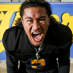 Orem Tigers linebacker Noah Sewell, Mr. Football 2019, poses for a portrait at Orem High School in Orem on Thursday, Dec. 12, 2019. Sewell has committed to play for the University of Oregon where his older brother Penei Sewell currently plays as an offensive lineman.