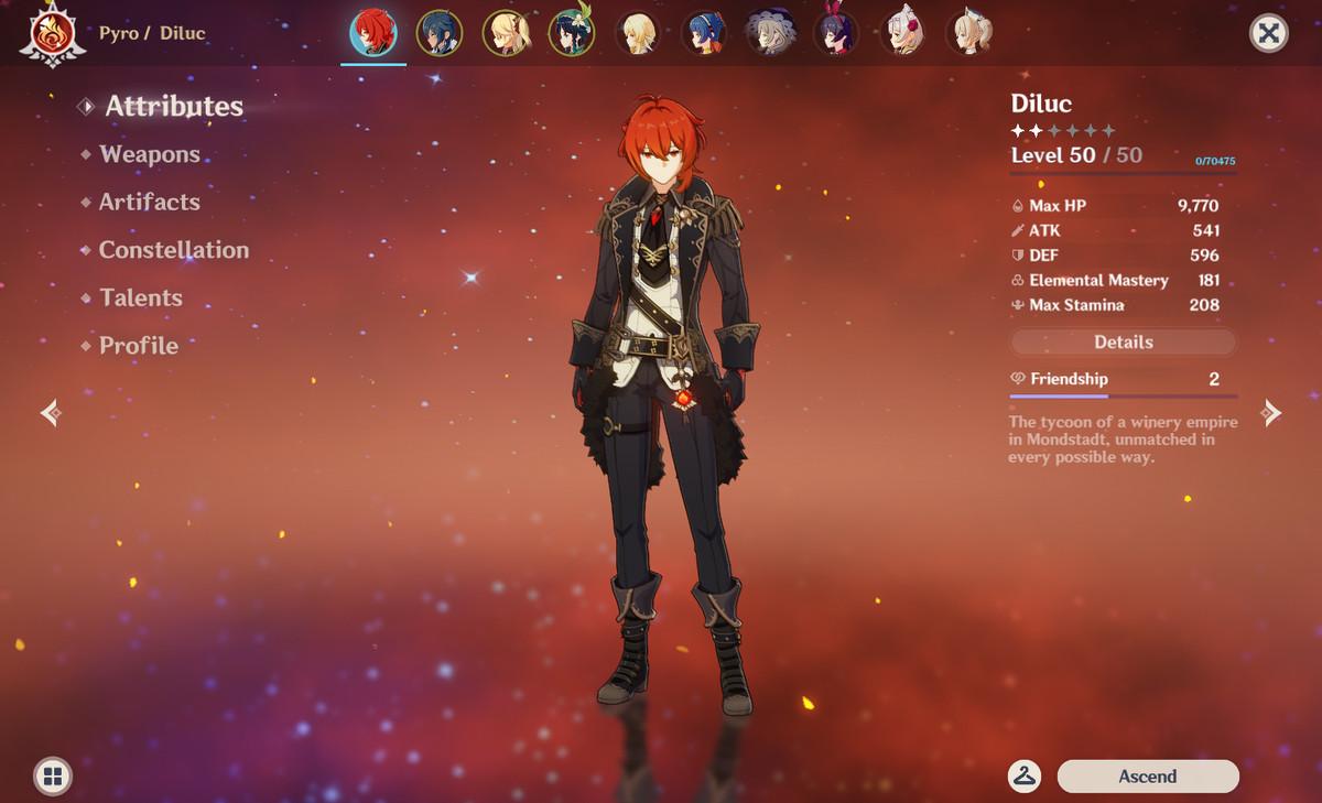 Diluc character screen Genshin Impact