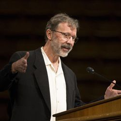 Ed Catmull, president of Pixar Animation Studios and Disney Animation studios, speaks on eliminating barriers to creativity at a Brigham Young University forum on Jan. 27.
