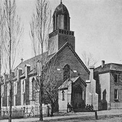 St. Mary's Catholic Church stands in downtown Salt Lake City in the 1870s before the Cathedral of the Madeleine was constructed.