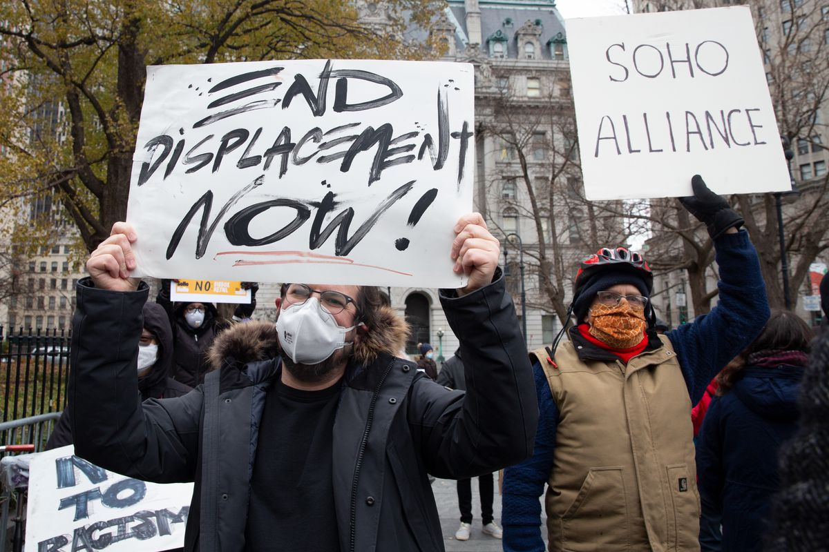 Tenant advocates protested rezoning and evictions outside City Hall in lower, Manhattan, Dec. 16, 2020.