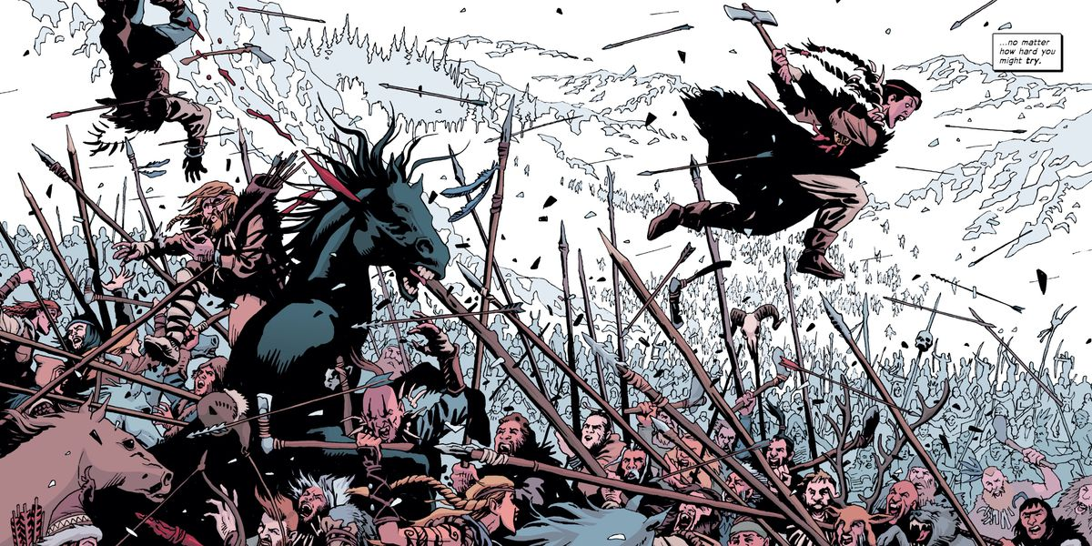 Andromache the Scythian leaps into a pitched and ancient battle, brandishing an axe, in The Old Guard: Force Multiplied #2, Image Comics (2020).