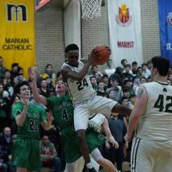 St. Patrick's Austin Freeman (24) grabs a rebound against Notre Dame, Friday 02-08-19. Worsom Robinson/For the Sun-Times.